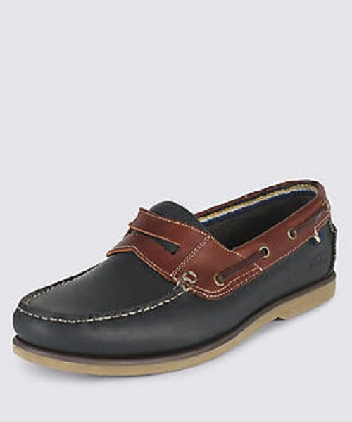Marks & Spencer Blue and Brown leather mocassin