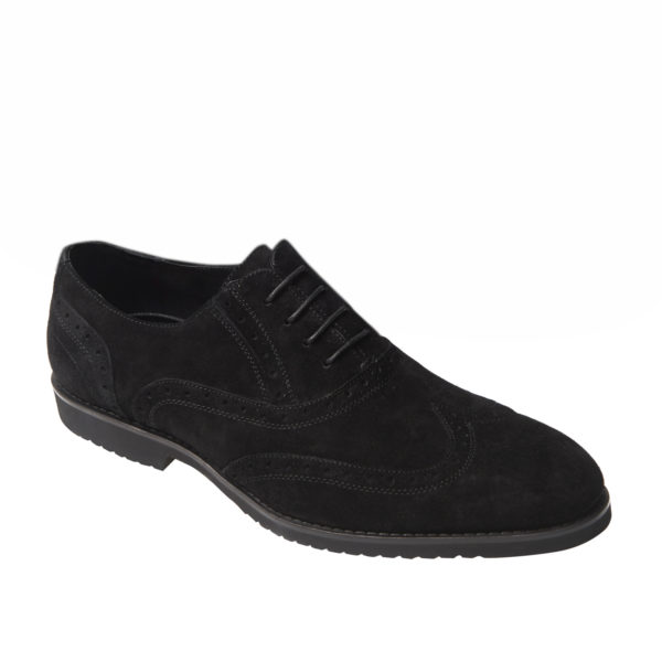 Men's Italian Black suede brogue T2
