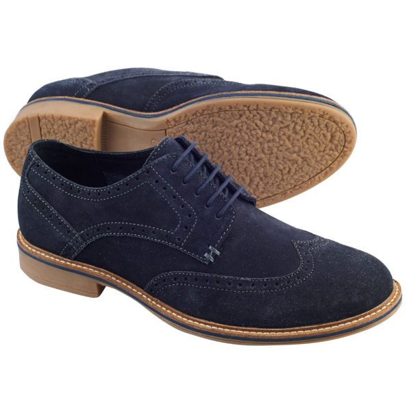 Men's Italian Blue suede brogue T2